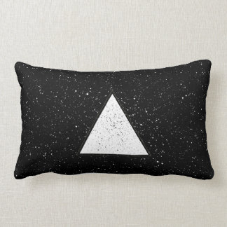 White hipster space triangle black background lumbar pillow