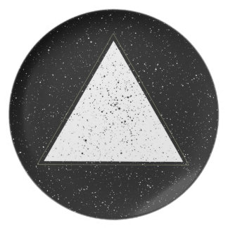White hipster space triangle black background melamine plate