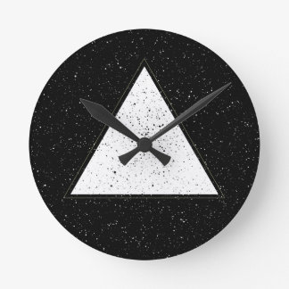 White hipster space triangle black background round clock