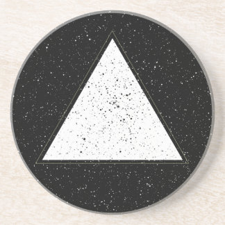 White hipster space triangle black background sandstone coaster