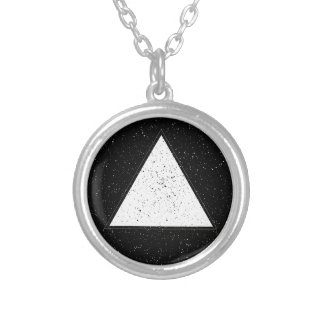 White hipster space triangle black background silver plated necklace
