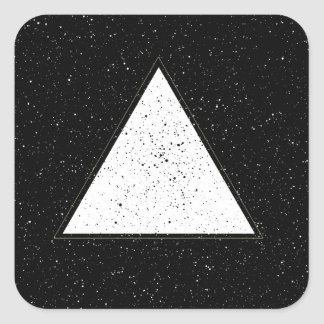 White hipster space triangle black background square sticker