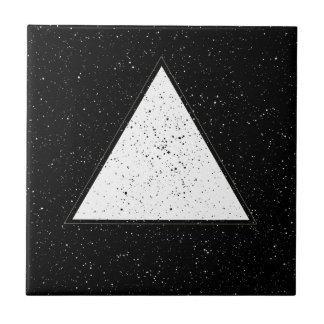 White hipster space triangle black background tile