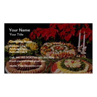 White Holiday party trays flowers Business Card Template