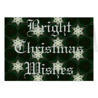 White Holiday Stars on Green Greeting Cards