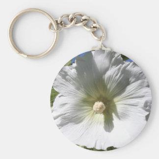 White Hollyhock Blossom Keychain