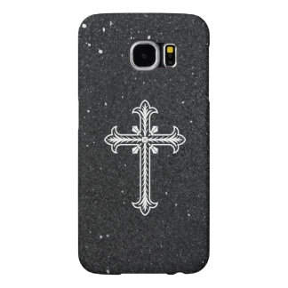 White Holy Cross black shiny glitter Samsung case