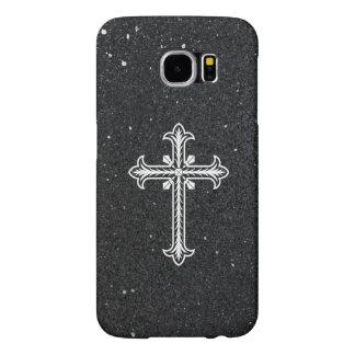 White Holy Cross black shiny glitter Samsung case