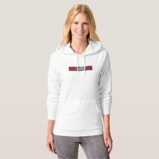 White hoodie with long sleeves and modern design