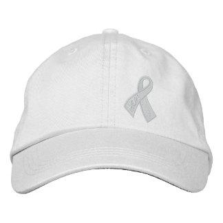 White Hope Cancer Ribbon Awareness Embroidered Baseball Hat