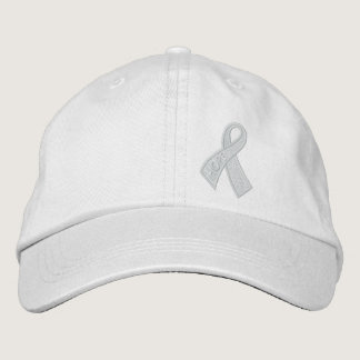 White Hope Cancer Ribbon Awareness Embroidered Baseball Hat