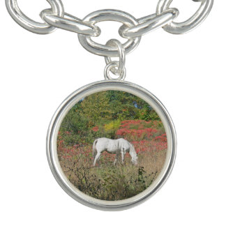 """WHITE HORESE IN FIELD"" ROUND CHARM & BRACELET"