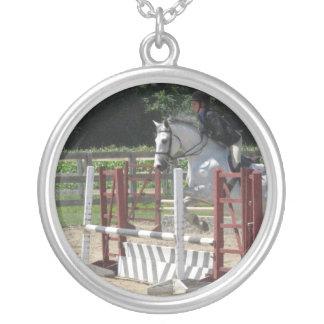 white-horse-8 round pendant necklace