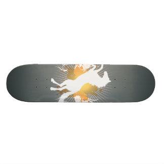 white horse abstract art v4 skateboard