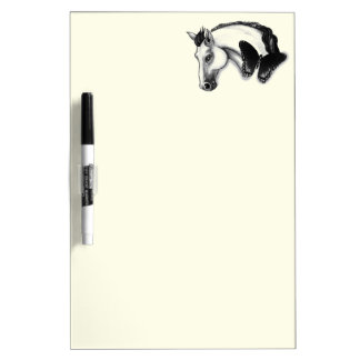 White Horse and Butterfly Design Dry-Erase Board