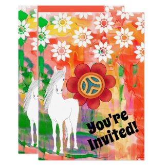 White Horse and Flowers Colorful Birthday Invitation