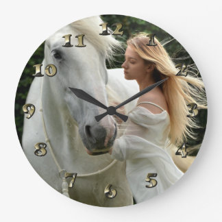 White Horse and Girl Large Clock