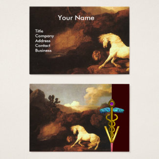 WHITE HORSE AND LION / CADUCEUS VETERINARY SYMBOL BUSINESS CARD