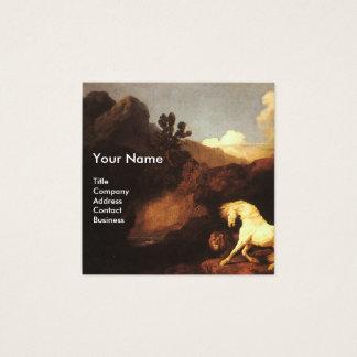 WHITE HORSE AND LION / CADUCEUS VETERINARY SYMBOL SQUARE BUSINESS CARD