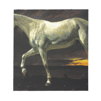White Horse and Sunset by Albert Bierstadt Notepad