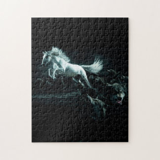 White Horse and The Attack of Wild Wolves Jigsaw Puzzle