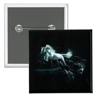 White Horse and The Attack of Wild Wolves Pinback Button