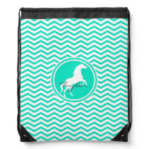 White Horse; Aqua Green Chevron Drawstring Backpack