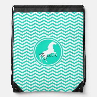 White Horse; Aqua Green Chevron Drawstring Backpack