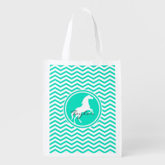 White Horse; Aqua Green Chevron Reusable Grocery Bag