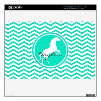 """White Horse; Aqua Green Chevron Decal For 11"""" MacBook Air"""