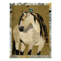 WHITE HORSE & BIRD Art Poster