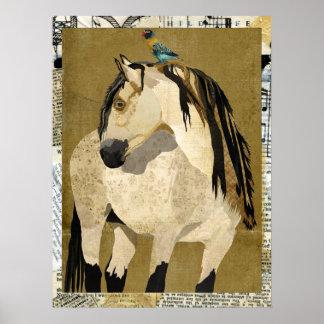 WHITE HORSE & BIRD Art Poster