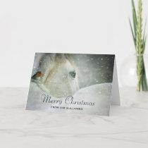 White Horse & Bird in a Winter Snowfall Christmas Card