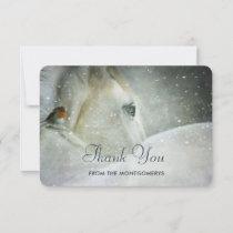 White Horse & Bird in a Winter Snowfall Thank You