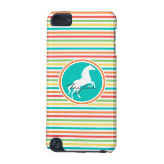 White Horse; Bright Rainbow Stripes iPod Touch 5G Case