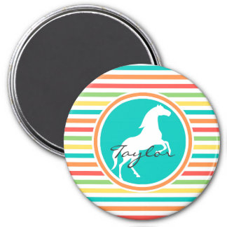 White Horse Bright Rainbow Stripes Refrigerator Magnets