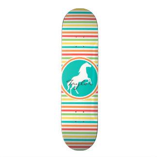 White Horse; Bright Rainbow Stripes Custom Skateboard