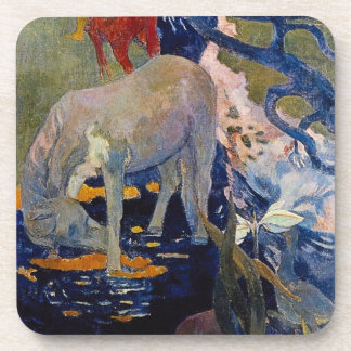 White Horse by Gauguin, Vintage Impressionism Art Drink Coaster