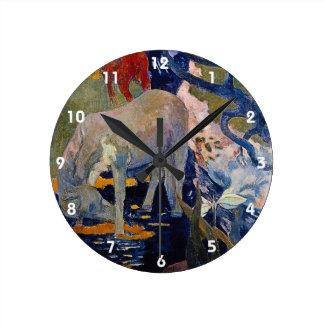 White Horse by Gauguin, Vintage Impressionism Art Round Clock