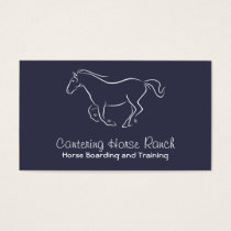 White horse cantering on blue business card