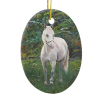 White Horse Ceramic Ornament