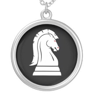 White Horse Chess Knight Silver Chain Necklace