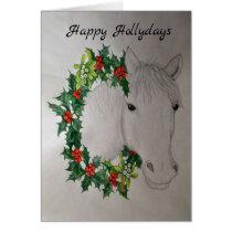 White Horse Christmas Garland Greetings Card