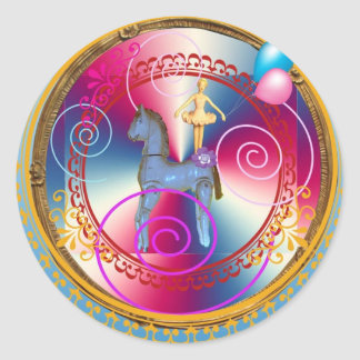 White horse dancer classic round sticker