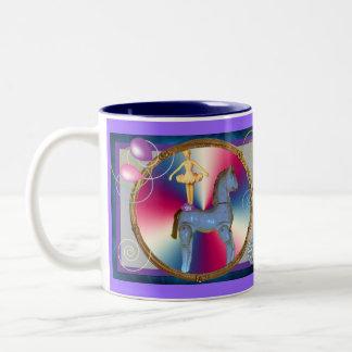 White horse dancer Two-Tone coffee mug