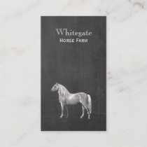 White Horse Equestrian Rustic Black Business Card