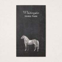 White Horse Equestrian Rustic Black Business Card