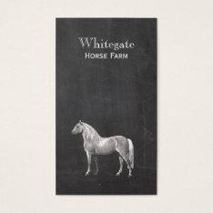 White Horse Equestrian Rustic Black Business Card at Zazzle