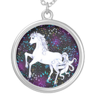 White Horse Flowers Animals Equestrian  Necklace