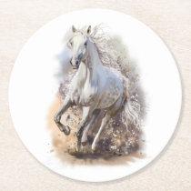 White Horse Gallop Round Paper Coaster